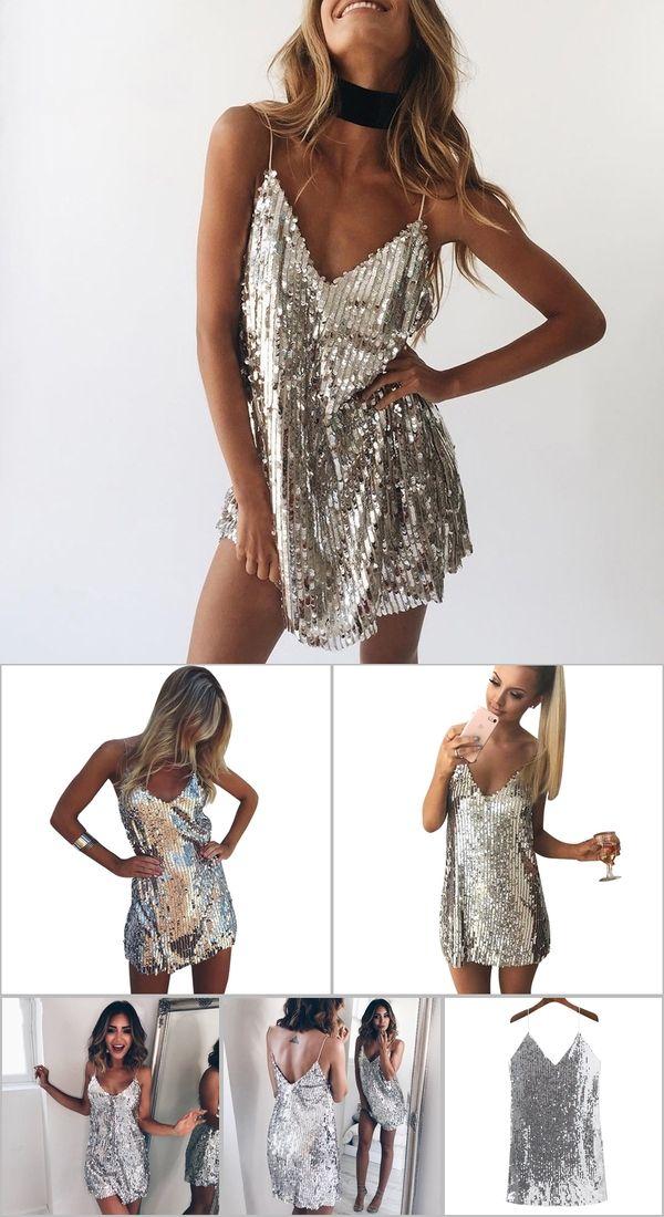 08d82394de3e Deep V Neck Autumn Silver Sequined Backless Sexy Dress Women Off Shoulder  Mini Dress Christmas Party