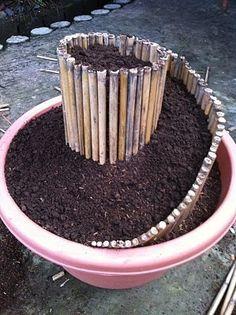 Mini Spiral Garden in a plant container @ Home Improvement Ideas