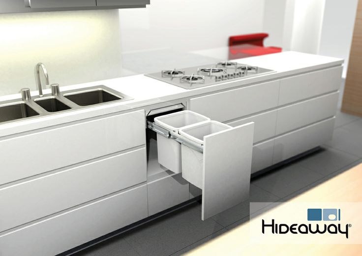 Double 15L Hideaway Bin featured in a kitchen environment. Model: Hideaway Soft Close SC215D-W featuring soft-close tracks to prevent slamming. The friction-fitted lid features a Clinikill™ antibacterial powder coating.