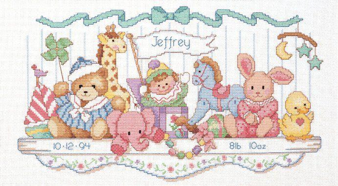 Toy Shelf Birth Record Counted Cross Stitch 16