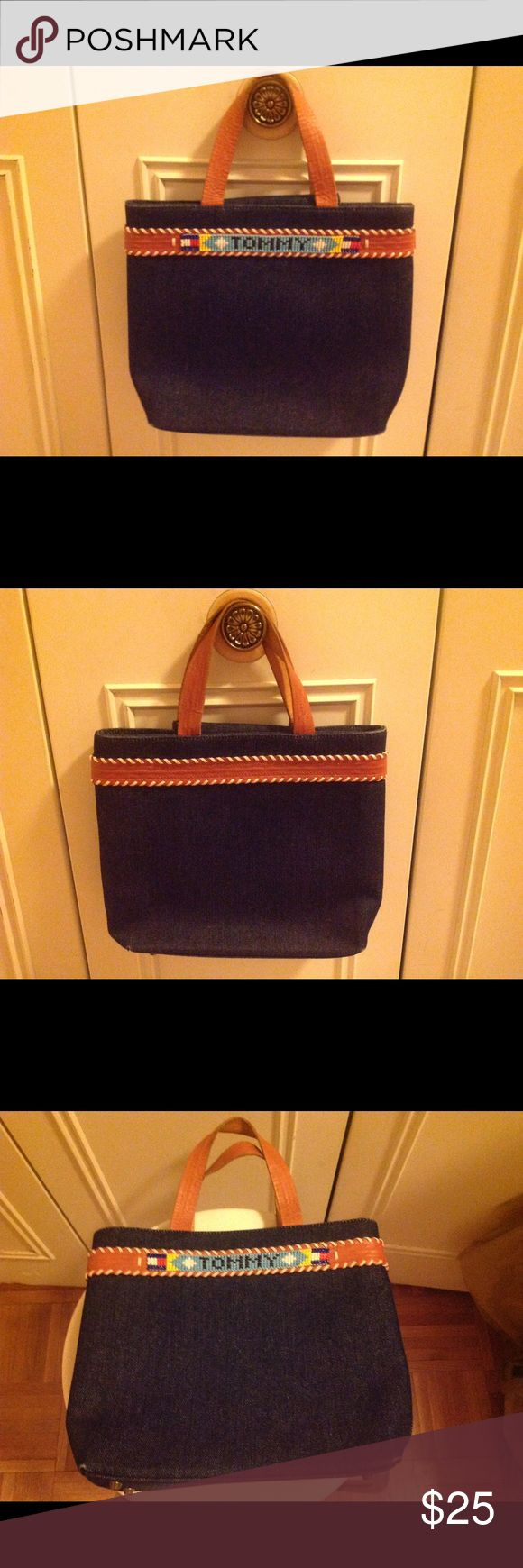Tommy Hilfiger Jean and Leather Tote Bag Tommy Hilfiger Jean Tote Bag with Brown Leather Straps and Multi-Colored Beading Tommy Hilfiger Bags Totes