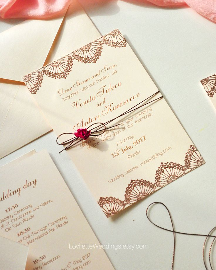 SAMPLE Handmade Wedding Invitation Copper Wedding Invitation