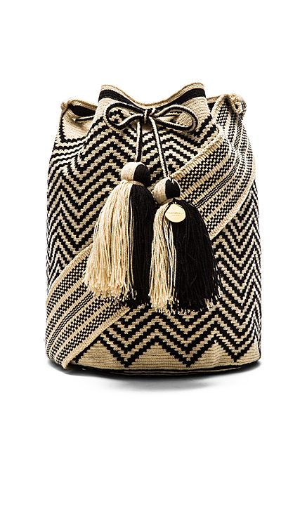 Guanabana Large Bucket Crossbody in Black & White
