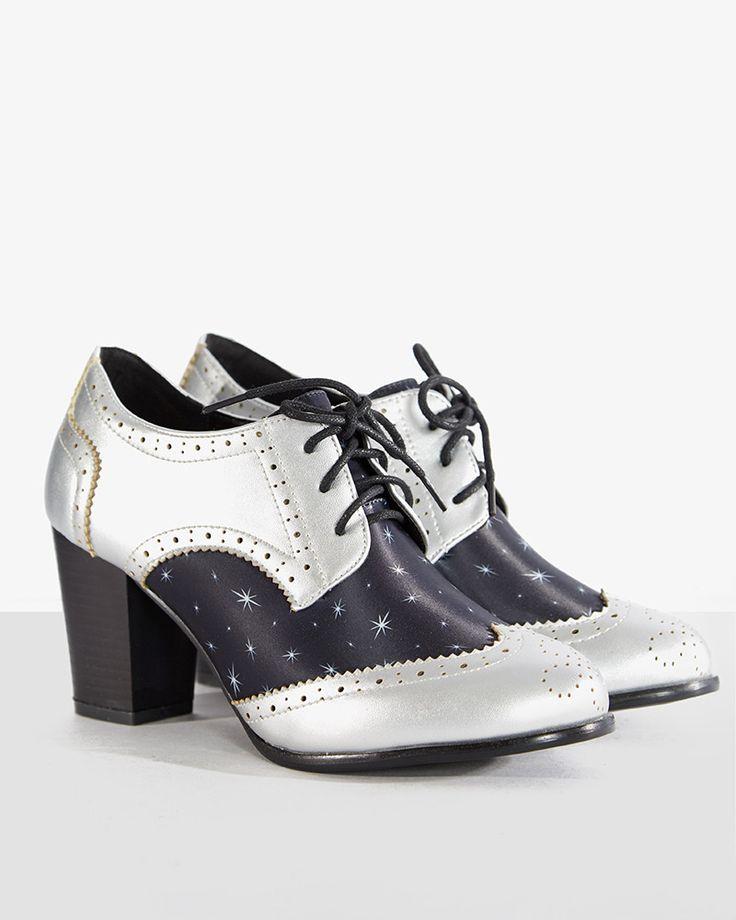 Brogan Unicorn Print Heeled Shoes   Vintage Style Footwear   Lindy Bop. '