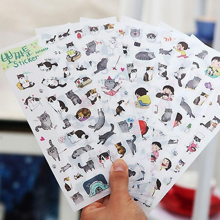 Goedkope 6 Sheet/Pack Nieuwe Transparante PVC Stickers Korea Creatieve Leuke Zwart witte Kat Dagboek Sticker H0709, koop Kwaliteit papier ambachten rechtstreeks van Leveranciers van China:  Grootte: 90*180mm Gewicht: 20g/pc Materiaal: pvc Specificatie: 6 in Pakket lijst: 1