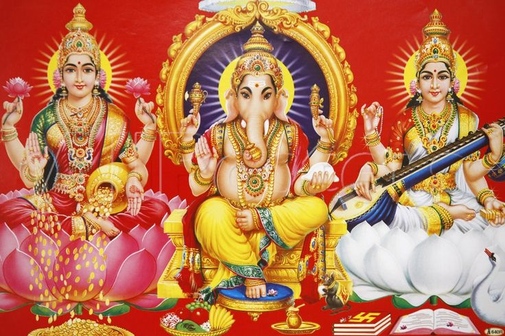 Hindu Godess Laxmi, God Ganesh and Goddess Saraswati (Left to ...