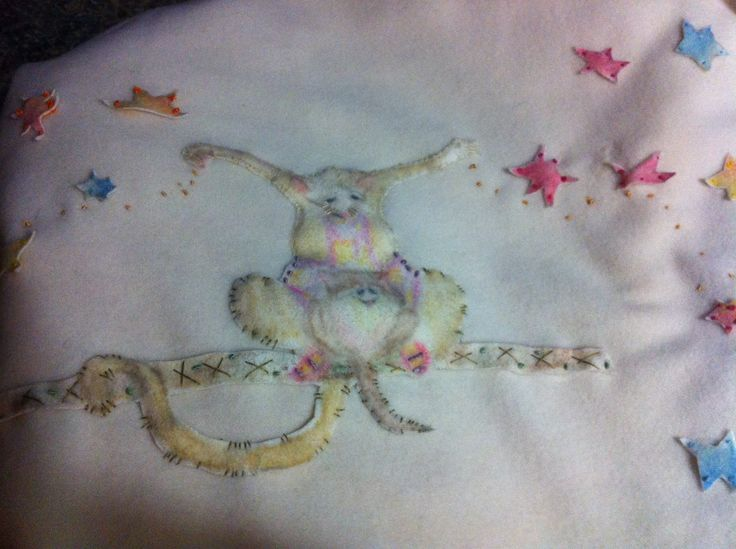 Possum Magic hand painted & sewn baby woollen blanket by Marion & Alice.