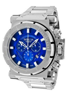 An aggressive, military style watch. Not for the faint of heart. Invicta Coalition Force Classic: Swiss Made Chronograph, Unidirectional Bezel, Stainless Steel Bracelet.
