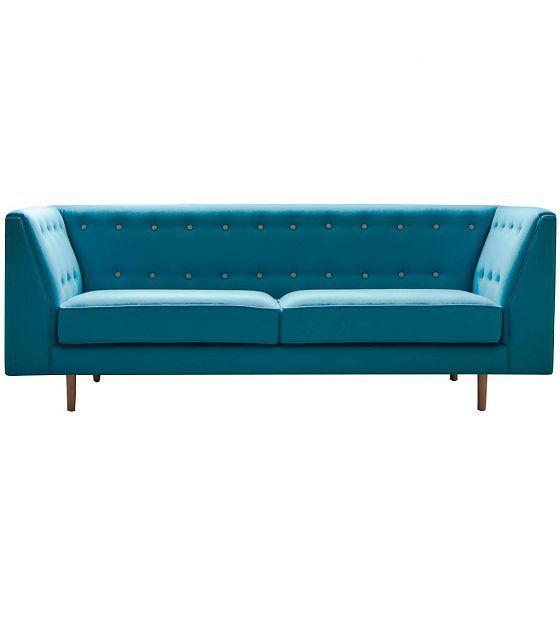 I-Sofa Bank Levi turquoise blauw textiel hout 209x83x78cm - wonenmetlef.nl