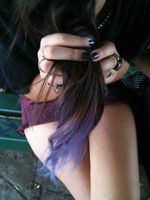"""brown + purple dipped hair.  I love seeing how dip dying looks on brown hair.  I've always been too hesitant to event try the non permanent/chalk dip """"dying"""" since I only ever see it on blondes!"""
