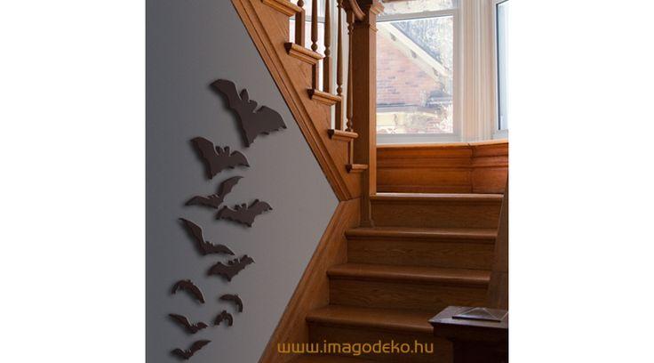 Denevérek faldekoráció 13db - Plasztikus dekor - Imágódeko - Otthondekor és üzletdekor