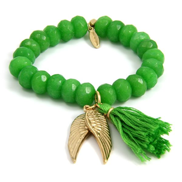 Lime Elastic Bracelet with Tassel and Gold Angel Wings Charm.... I love green!! Love it xx