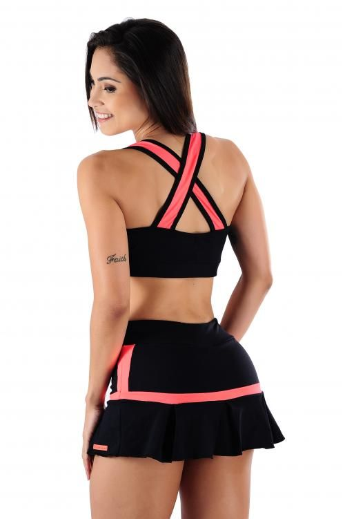 Short Saia Aerobics em Tecido Poliamida - Donna Carioca, Moda fitness e lingerie com preço de fábrica