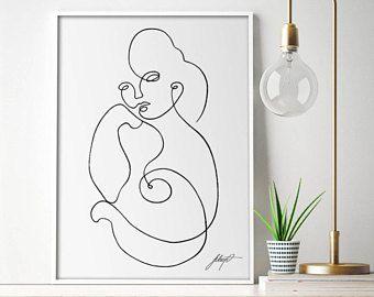 Impresión del arte continua mínima impresión Digital, retrato abstracto moderno, pared arte, estilo escandinavo, ilustraciones para imprimir, decoración Minimalista,
