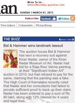 Bid & Hammer wins landmark lawsuit: Sunday Guardian, 1st March 2015