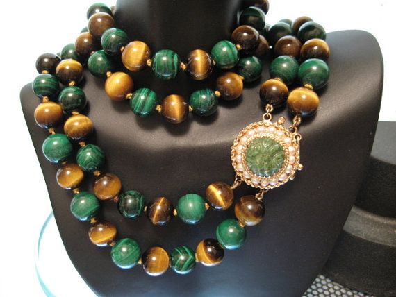 Vintage Huge 14k Clasp 2 Strand Malachite And Tiger Eye Necklace