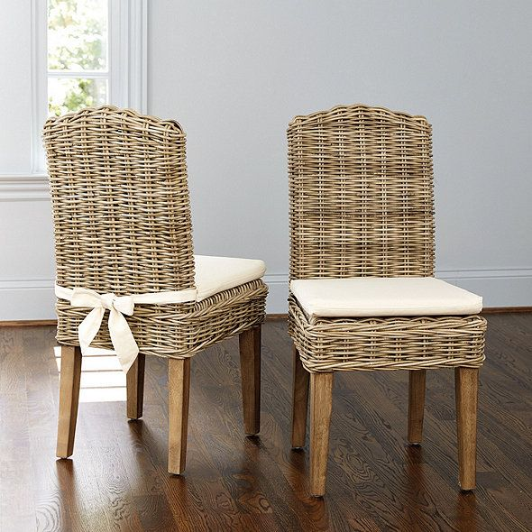 Rosalind Wicker Chairs Set Of 2 Ballard Designs Solid Wood