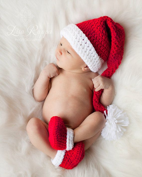 Baby Santa Hat with Matching Booties Set- Christmas Hat- Holiday Beanie- Infant Santa Claus hat- Newborn Christmas Card Photo Prop