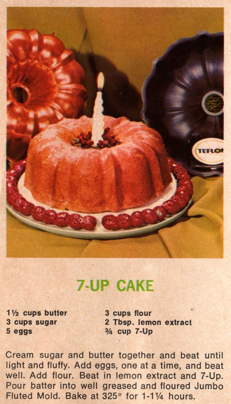 7up Bundt Cake Recipelooks Easy And Fun! #vintage