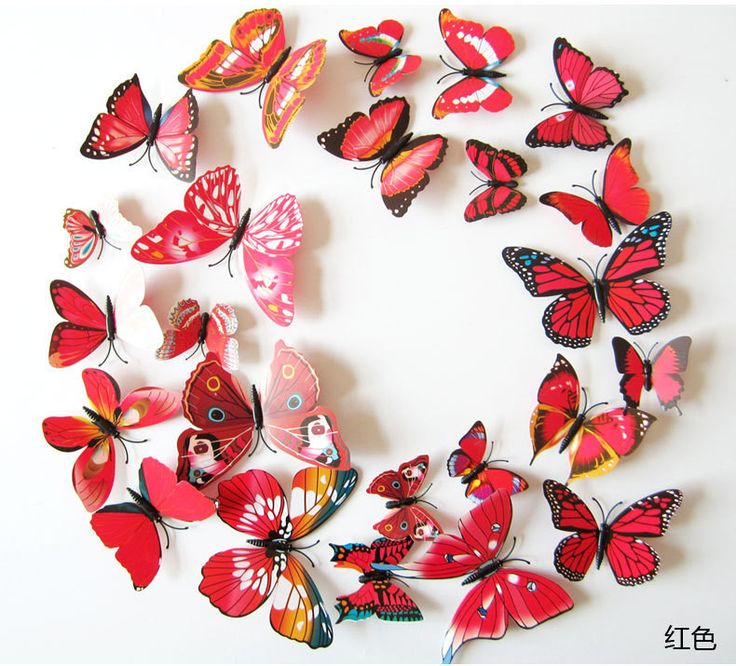 12Pcs 2Big+2Middle+8Small 3D Butterfly Wall Stickers For Girl Boy Kids Living Rooms Home Decoration