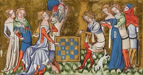 The image above is from Jacques de Longuyon's Vows of the Peacock, an illuminated manuscript from around 1350, and depicts nobles playing chess.  It shows the dagged chaperons and buttoned cotehardies as well as the pointed poulaines worn by men.  The women wear cotehardies, some with sideless surcoats over them and some with dalmation sleeves.