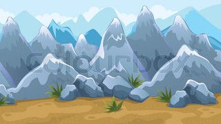 Vector seamless cartoon game background of mountain landscape | vector_preview_title | Colourbox on Colourbox