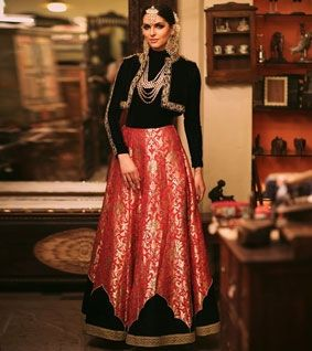 Red And Black Zardozi Banarasi Silk Lehenga Set