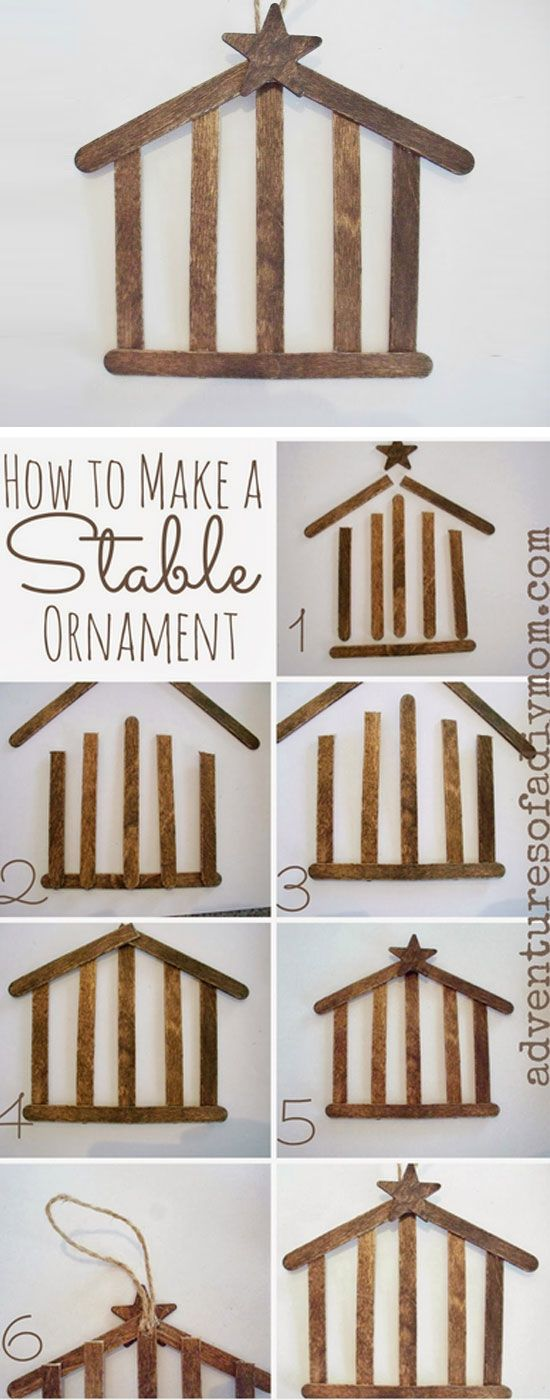 Craft Stick Stable Ornament | Click for 25 DIY Christmas Crafts for Kids to Make | DIY Christmas Decorations for Kids to Make More