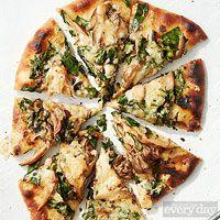 Garlic Naan Flatbread Pizzas with Mushrooms
