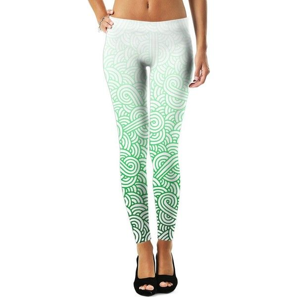 Gradient green and white swirls doodles Leggings ($45) ❤ liked on Polyvore featuring pants, leggings, women, green trousers, legging pants, green leggings, white pants and white leggings