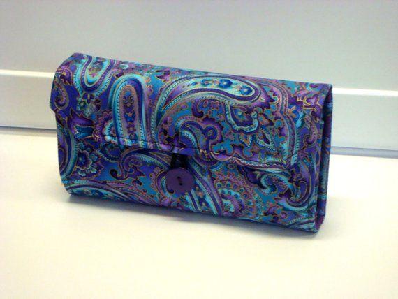 Cash Envelope Wallet / Dave Ramsey System / Zipper Envelopes – Blue Purple Paisley