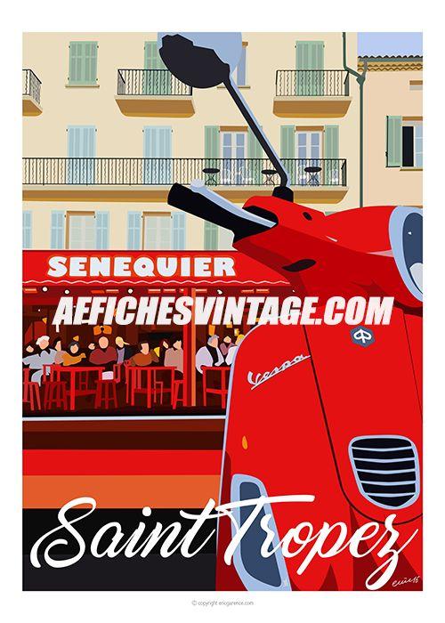 Affiche campagne jumelée Vespa et Senequier ! Oeuvre faisant partie de la collection Saint Tropez. Visible dans le plus célèbre des restaurants du port de Saint Tropez !