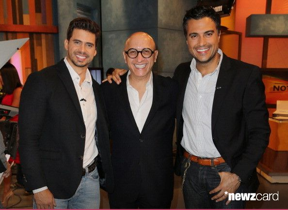 Pedro Moreno, Alberto Ciurana and Jaime Camil are seen on the set of Univision's 'Despierta America' morning show at Univision Headquarters on September 23, 2013 in Miami, Florida. (Photo by Alexander Tamargo/Getty Images)