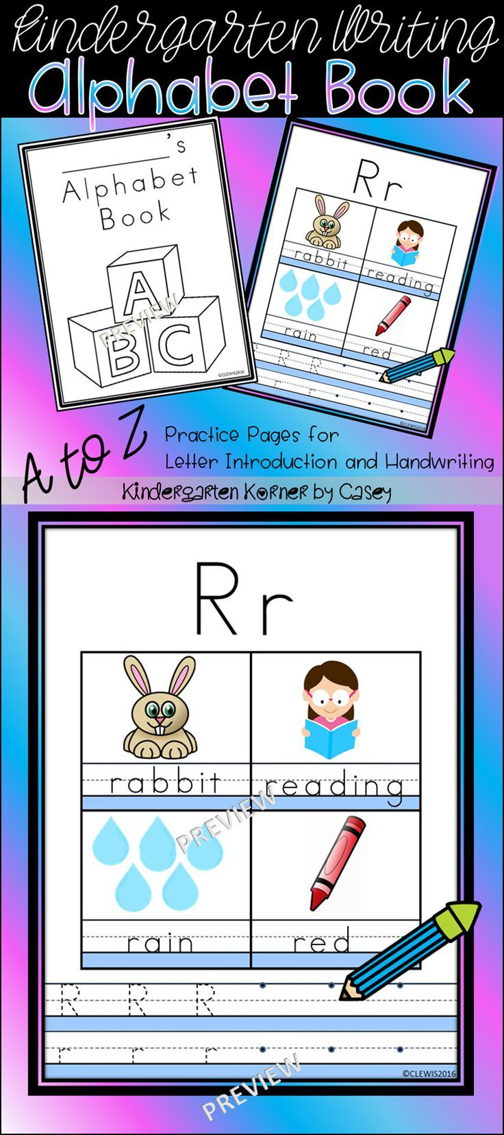 NO PREP Alphabet Handwriting Book Letter Sound Introduction ...