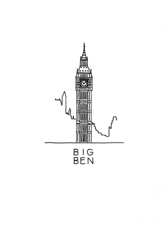 The Big Ben art print. So Majestic tower, isn't it? Now on an art print for download. #DrawTheGlobe #poster #design #drawing #art #minimalist #London #England #architecture #ink #black_and_white #buildings #etsy