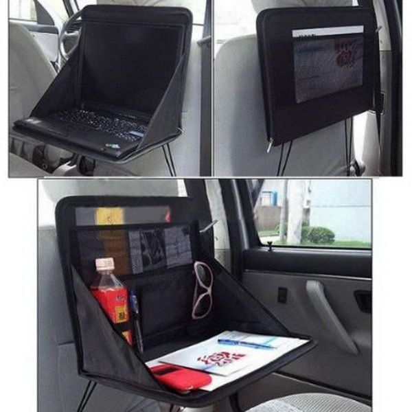 Laptop Holder. It makes full use of the little car space as a good storage of whatever necessities, such as snack, food, drink, etc. Artfully and is easy to install and use. http://hative.com/storage-organization-ideas-for-your-car/