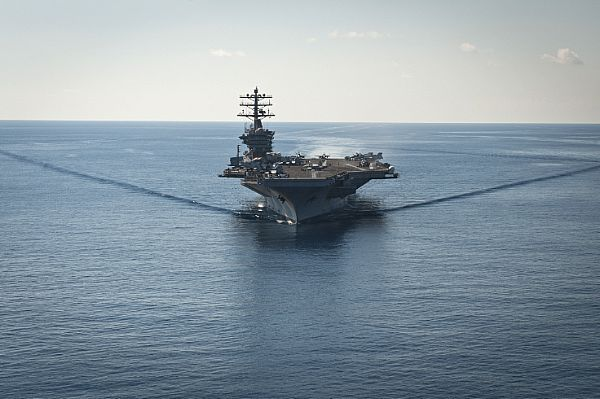 USS Nimitz transits through the Mediterranean Sea. Nimitz is deployed supporting maritime security in the 6th Fleet