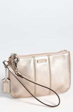 COACH 'Small' Leather Wristlet in Rose Gold | Nordstrom