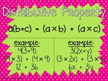 A poster for you and your students to teach the distributive property!  Print a copy for each student, or post a color copy in your classroom for students to reference.  It has two examples; a numerical expression and a variable expression are included.