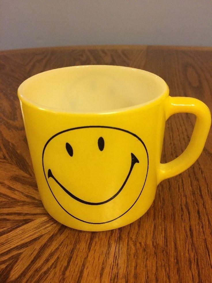 Vintage RARE Federal Yellow Milk Glass Happy Smiley Face Collectible Coffee Mug  | eBay
