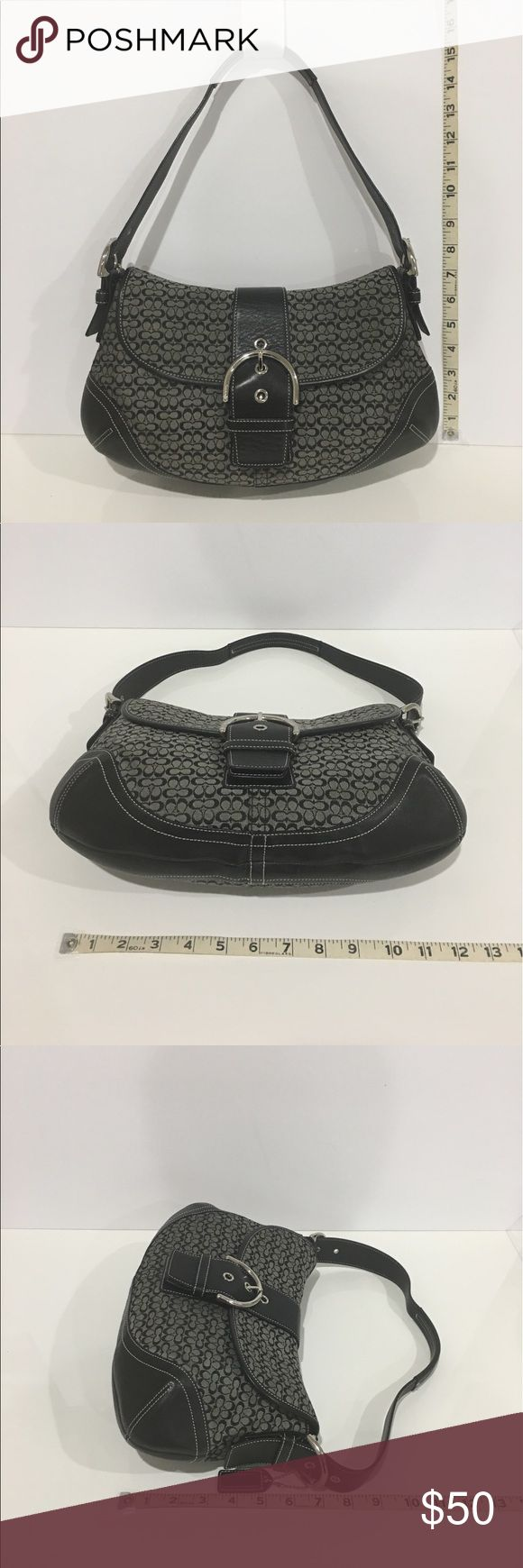 COACH Signature Black and Gray Shoulder Bag 💥SUPER SALE - WAS $60💥USED COACH Signature Black and Gray Shoulder Bag.  Body is COACH gray fabric with a black C design.  The bottom, handle, and accents are black leather with white stitching.  The hardware is silver.  The is one large magnetic snap pocket across the back of the bag.  Inside, there are two sections.  The front section has a zipper pocket on the back portion and two reach in pockets on the front portion.  Please see the pictures…