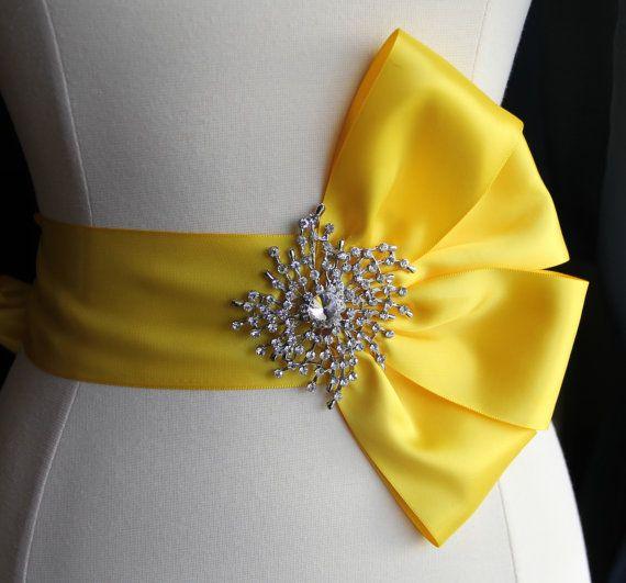 Yellow Bridal Sash Bridal Ribbon Wedding Sash with by TulleCabaret