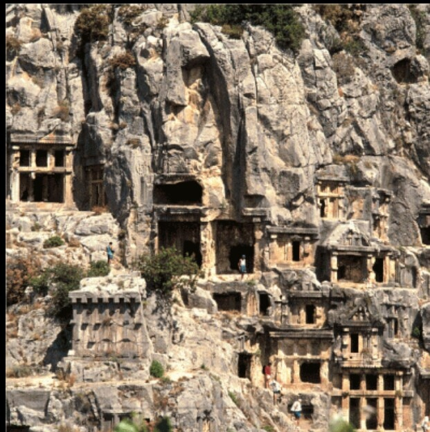 Fethiye Turkey  towns carved, gouged in to the rock face.