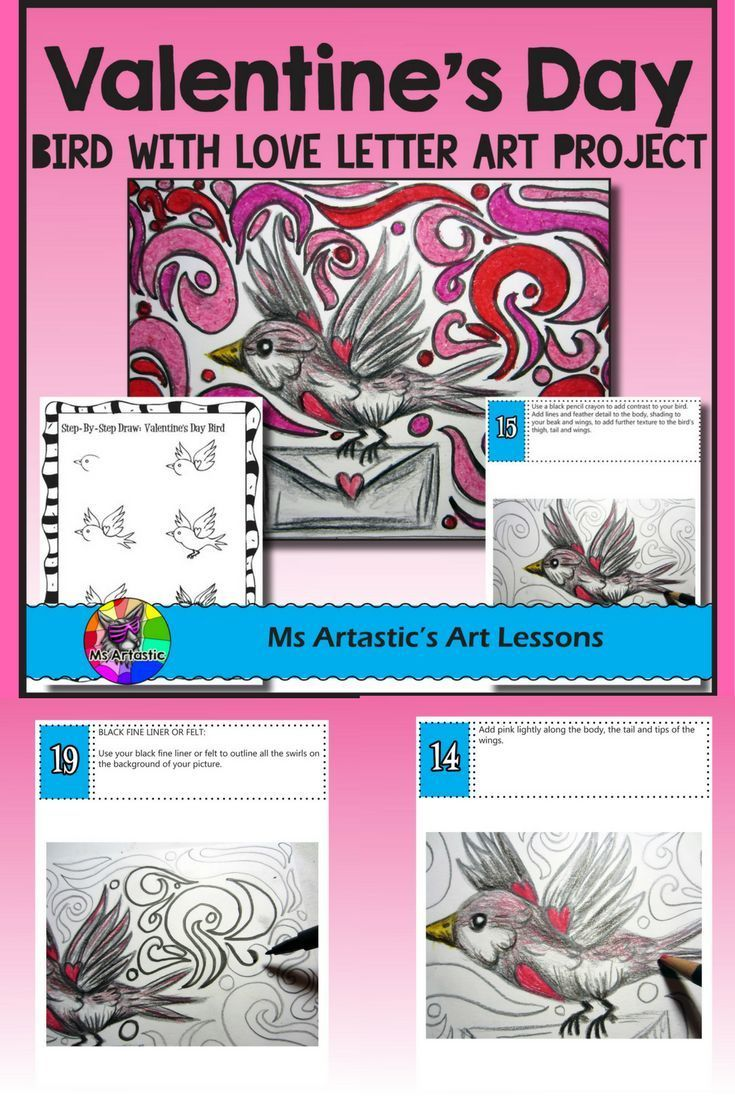 Create a Valentine's Day Bird with Love Letter art piece using Pencil Crayon and Oil Pastel. Your students will really love this! This product is complete with a visual and text step-by-step (each step on its own page with description), a rubric for marki