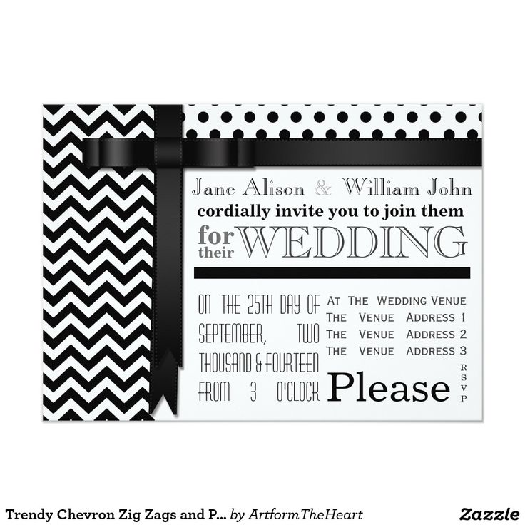 57 best wedding invitations images on pinterest bridal invitations trendy black and white chevron zig zags and polka dots wedding invitation card in a typography stopboris Choice Image