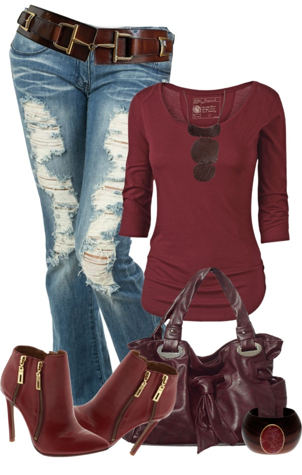 """""""Shades of Merlot"""" by johnna-cameron ❤ liked on Polyvore...I'd probably never wear the shoes but I love the outfit"""