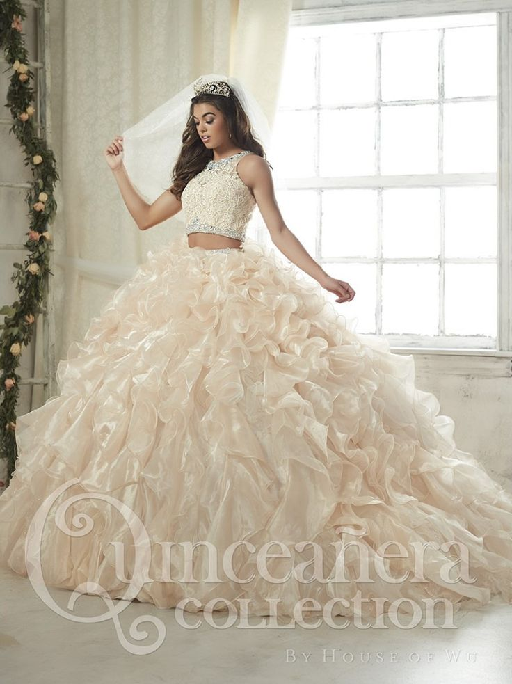 <>House of Wu Quinceanera Dress Style Number 26813 is made for Sweet 15 girls who want to look like a beautiful Princess on her special day. For a night of celebration, choose this modern two-piece go