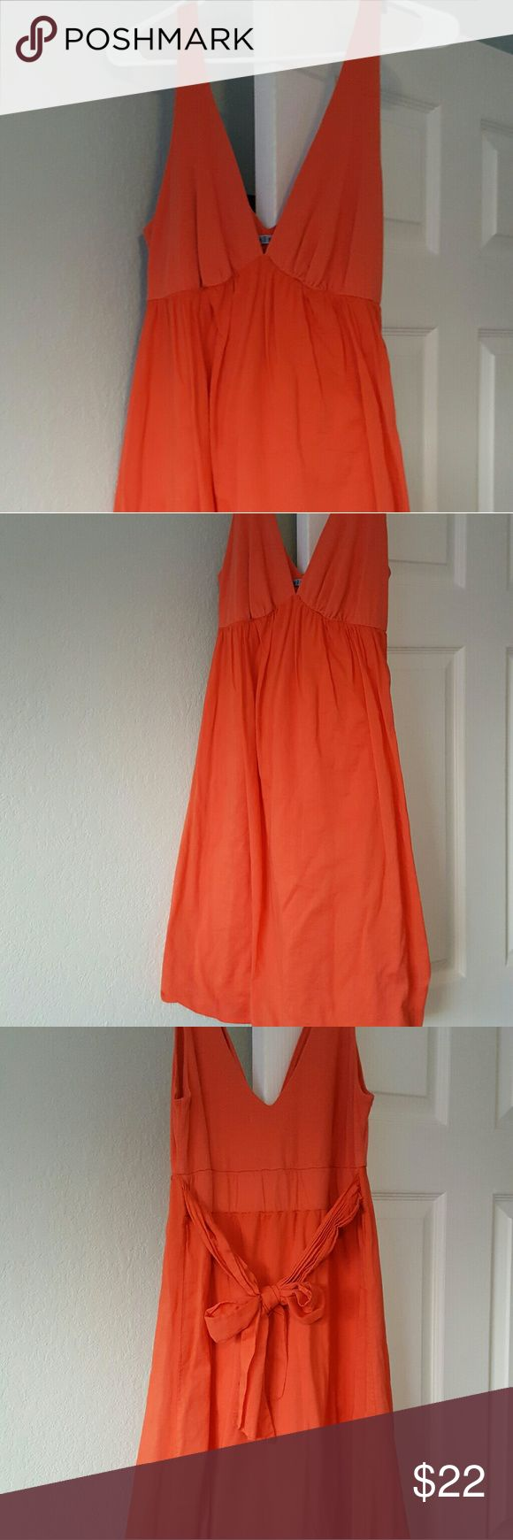 GORGEOUS Coral Dress by Velvet, Graham & Spencer Really beautiful and comfy tie back coral colored dress by Velvet. In like new condition. Size Large. Velvet Dresses Midi