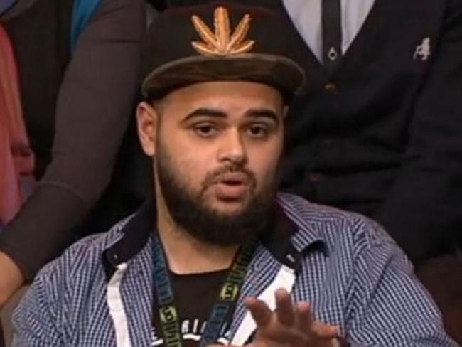 Zaky Mallah justified Australians fighting in Iraq and Syria on Monday night. Picture: Q&