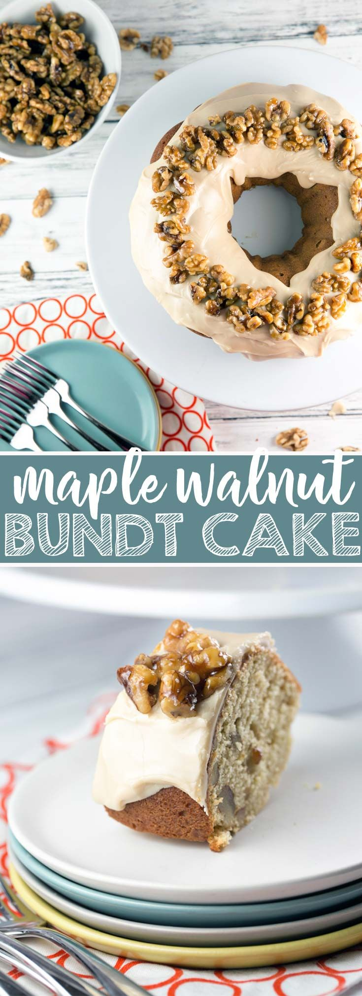 Maple Walnut Bundt Cake: vanilla bundt cake filled with maple and walnut, a thick layer of maple frosting, topped with homemade maple glazed walnut. It's the perfect fall cake! {Bunsen Burner Bakery} via @bnsnbrnrbakery